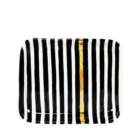 Striped Ceramic Tray in Black