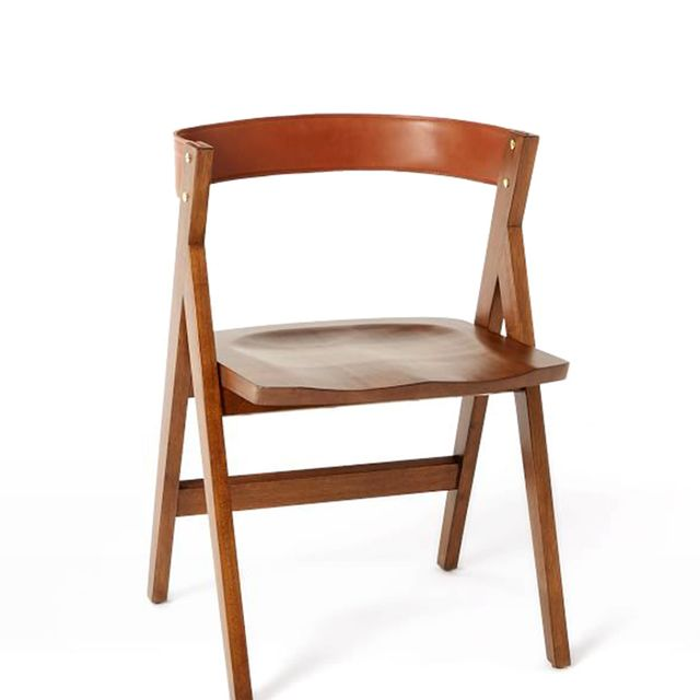 "Michael Robbins ""A-Frame"" Leather Back Dining Chair"