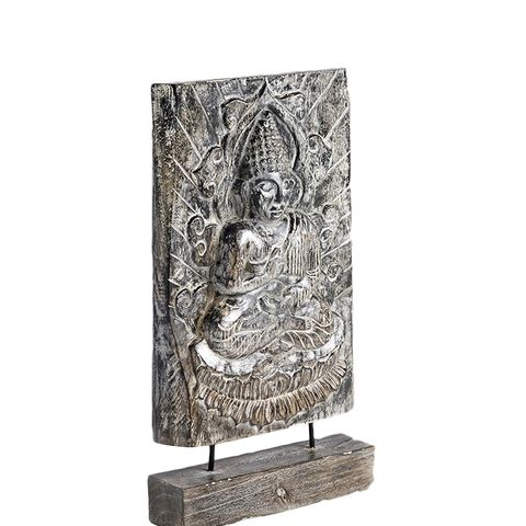 Wood Meditating Buddha on Stand