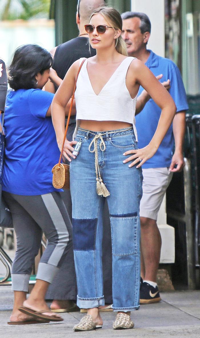 Margot Robbie in Woven Slippers