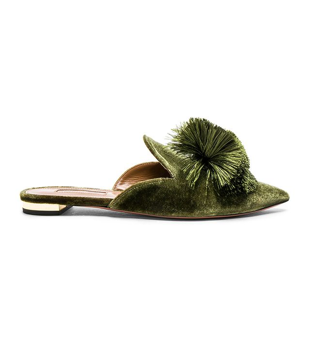 Aquazzura Velvet Powderpuff Flats in Moss Green