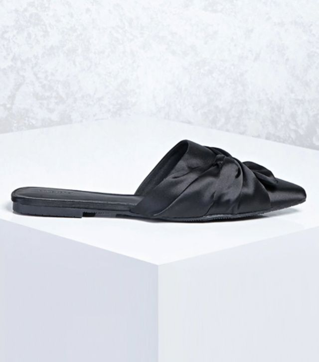 Forever 21 Knotted Bow Satin Flats in Black