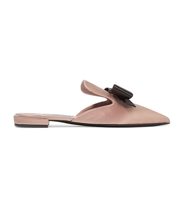 Prada Bow-Embellished Satin Slippers
