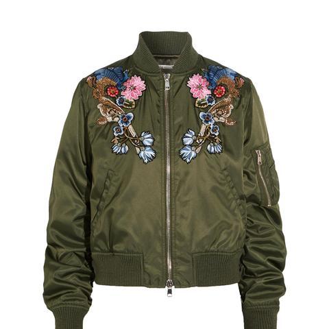 Embellished Embroidered Shell Bomber Jacket