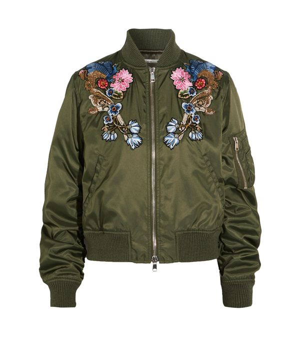 embroidered bomber jacket: Alexander McQueen Embellished Embroidered Shell Bomber Jacket