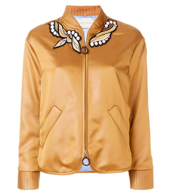 embroidered bomber jacket: Marco De Vincenzo Embroidered Bomber Jacket
