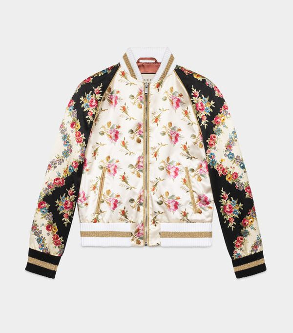 embroidered bomber jacket: Gucci Rose Print Silk Bomber Jacket