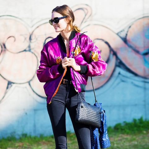Embroidered Bomber Jackets: Purple satin is a real statement