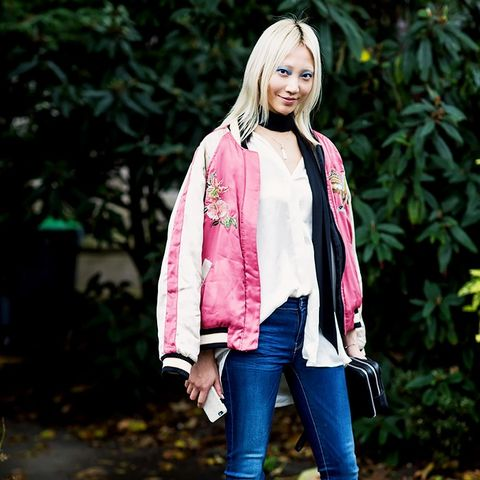 Embroidered Bomber Jackets: Try a pink bomber jacket with jeans