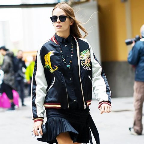 Embroidered Bomber Jackets: Pair a black varsity style with black clothing
