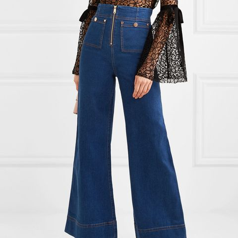 Bluesy High-Rise Wide-Leg Jeans