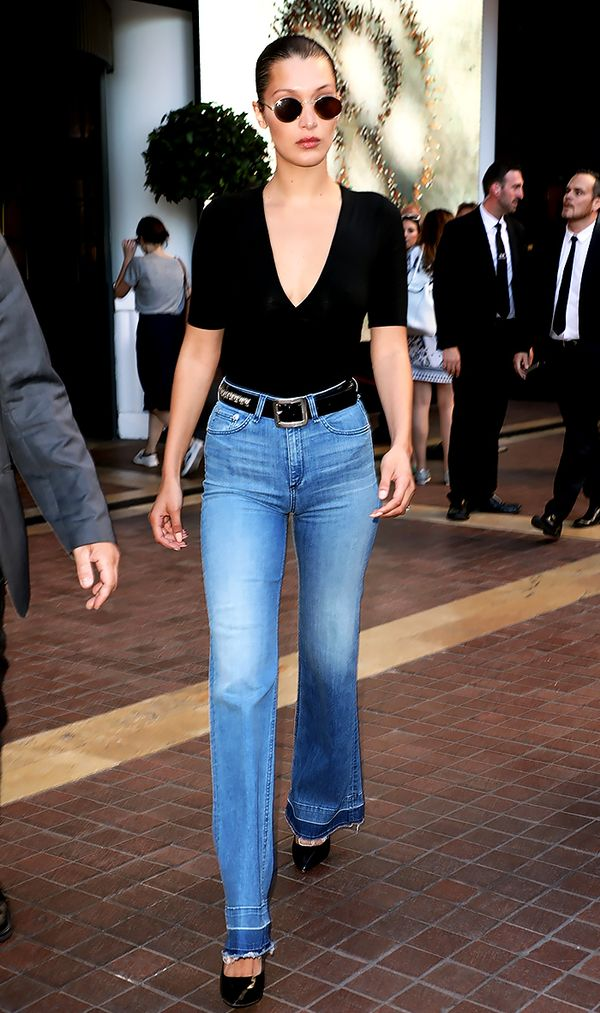 Bella Hadid Bell-Bottom Jeans