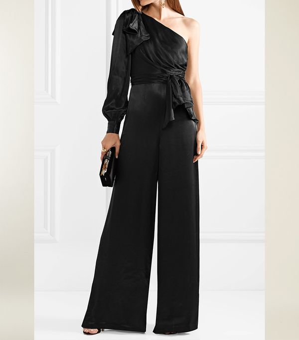 One Shoulder Bow Embellished Satin Jumpsuit