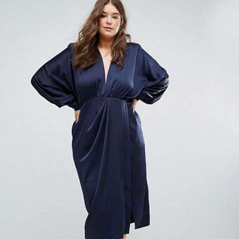 Shoulder Pad Long Sleeve Selenia Midi Dress