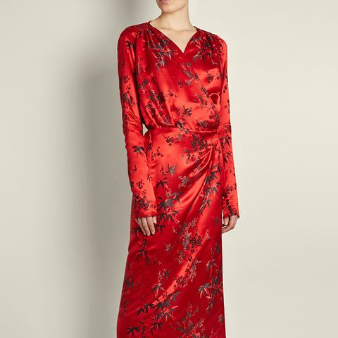 Victoria Oriental Satin Jacquard Midi Dress
