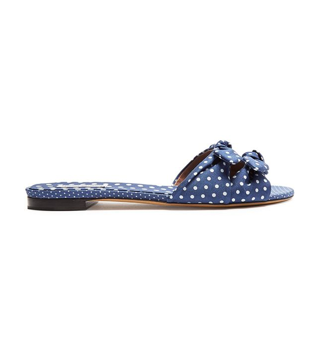 Cleo Polka-Dot Bow Slides
