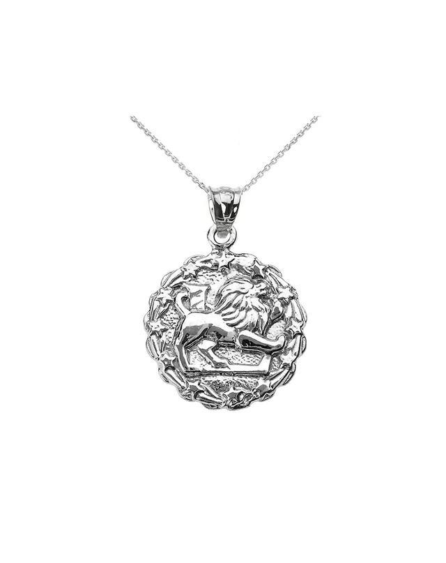 Gold Boutique Leo Zodiac Pendant Necklace in Sterling Silver