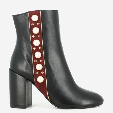 Ankle Boots in Black and Red Leather