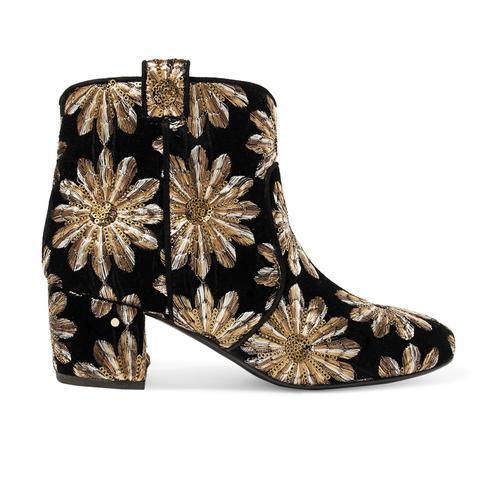 Belen Embellished Embroidered Velvet Boots