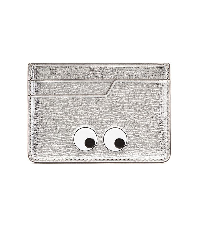 Eyes grained-leather cardholder