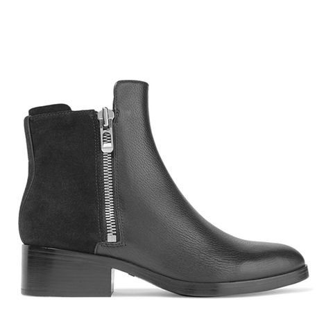 Alexa Textured-Leather and Suede Ankle Boots
