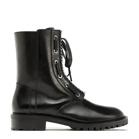 Leather Ankle Boots With Metallic Detail