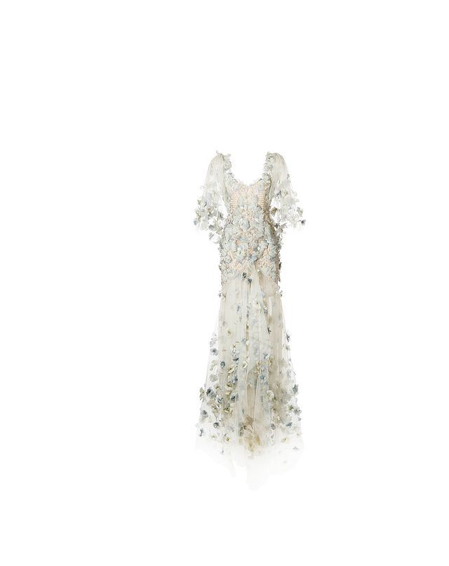 Marchesa floral applique fishtail gown