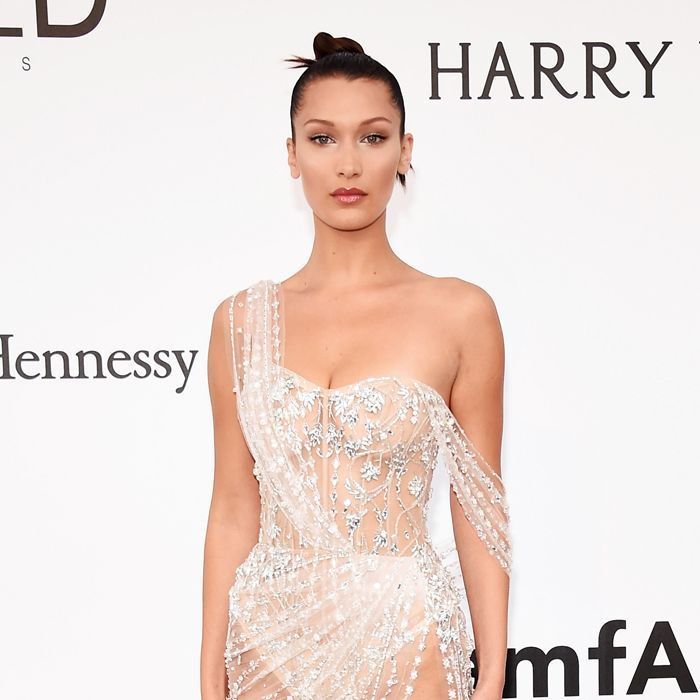 see through dress worn by Bella Hadid