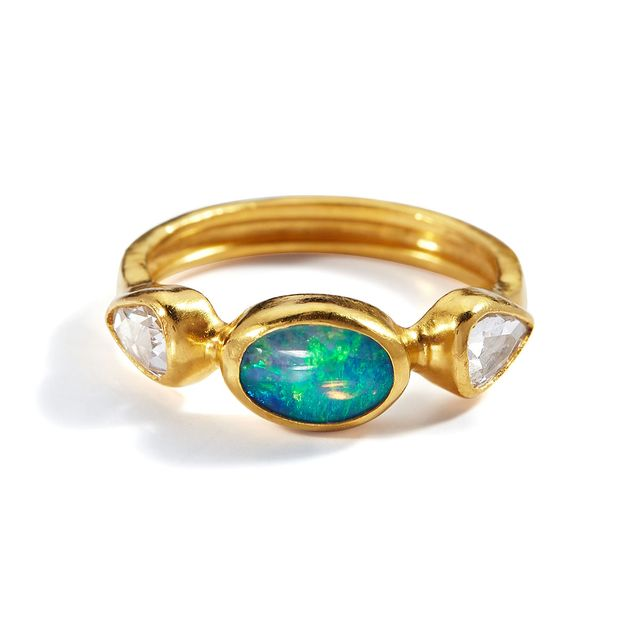Gurhan Delicate Hue Cabochon Opal and Diamond Ring
