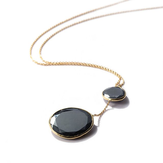 Pippa Small Hematite Two Stone Necklace