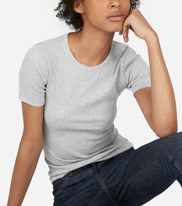 Women's Micro Rib Crew T-Shirt by Everlane in Heather Grey, Size L