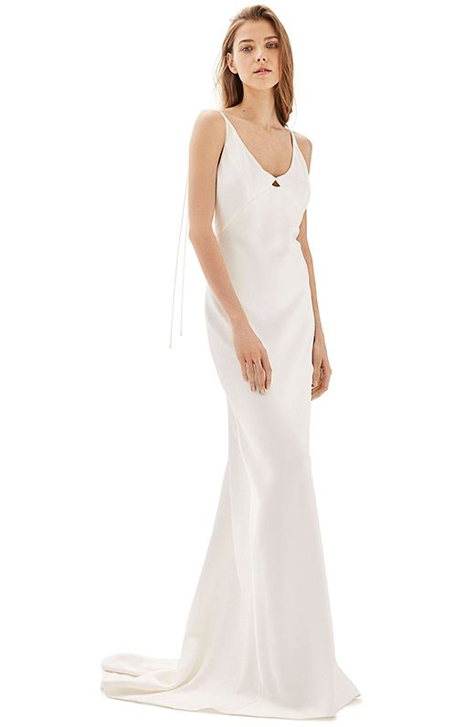 Bride V-Neck Satin Sheath Gown