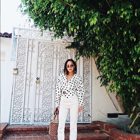how to wear polka dots: Aimee Song