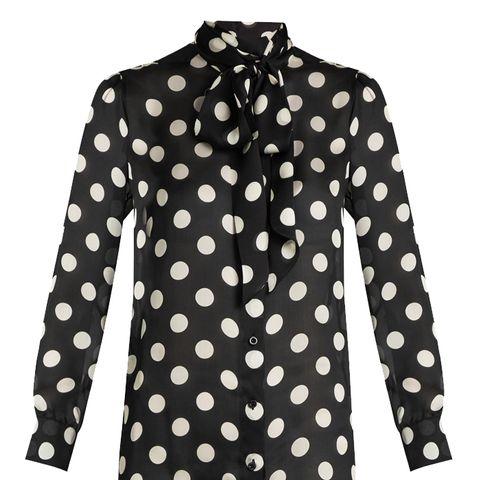Polka-Dot Print Silk-Georgette Blouse
