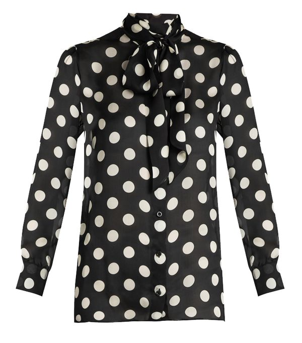 Gucci Polka-Dot Print Silk-Georgette Blouse