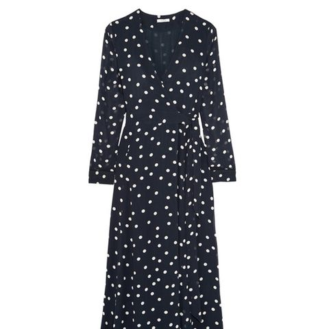 Polka-Dot Chiffon Wrap Dress