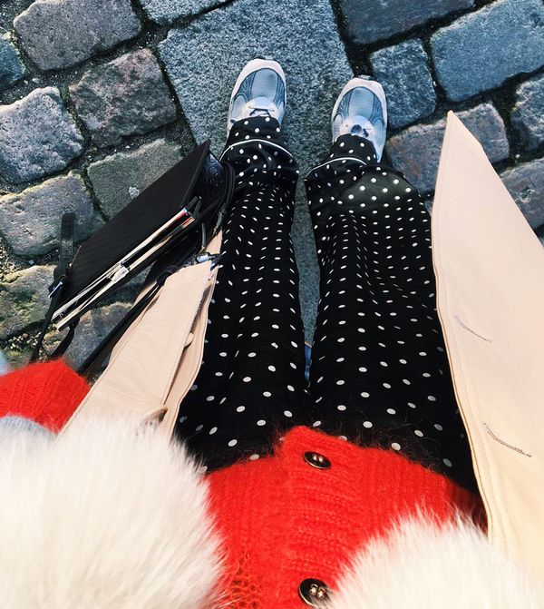 Style Notes: Jeanette's polka dot pyjama-style pants are the perfect way to do this trend in a more dressed-down fashion. Lucky for you, these Ganni beauties are on sale, down from £120...