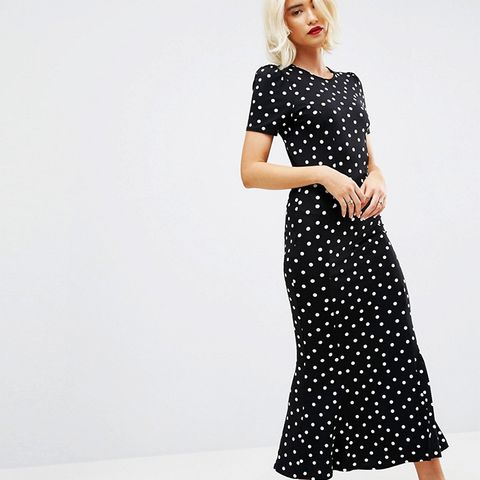 City Maxi Tea Dress In Polka Dot Print