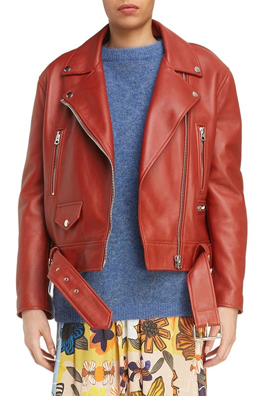 Women's Acne Studios Merlyn Leather Moto Jacket