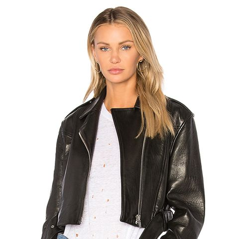 Crop Moto Jacket in Black