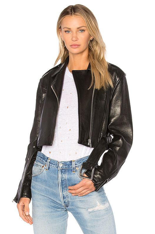 Crop Moto Jacket in Black. - size S (also in L,M,XS)