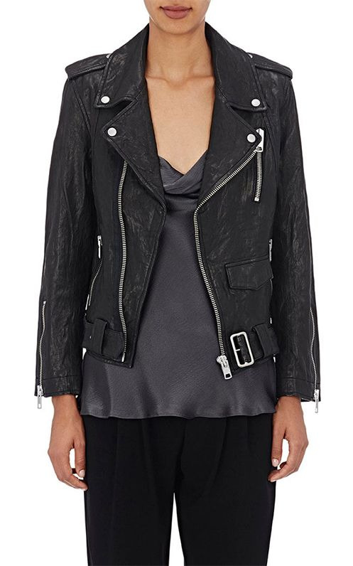 Women's Washed Leather Biker Jacket