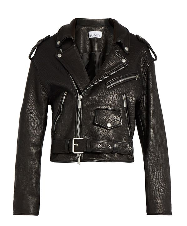 Shrunken tumbled-leather biker jacket