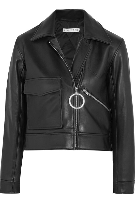 Sara Cropped Leather Biker Jacket