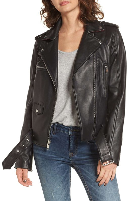 Contrast Trim Leather Moto Jacket