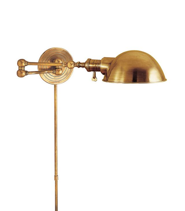E.F. Chapman Boston Hand-Rubbed Antique Brass Swing-Arm Wall Light