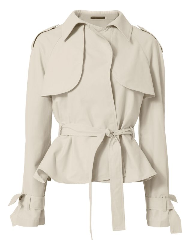 Harvey Faircloth Belted Cropped Trench Coat