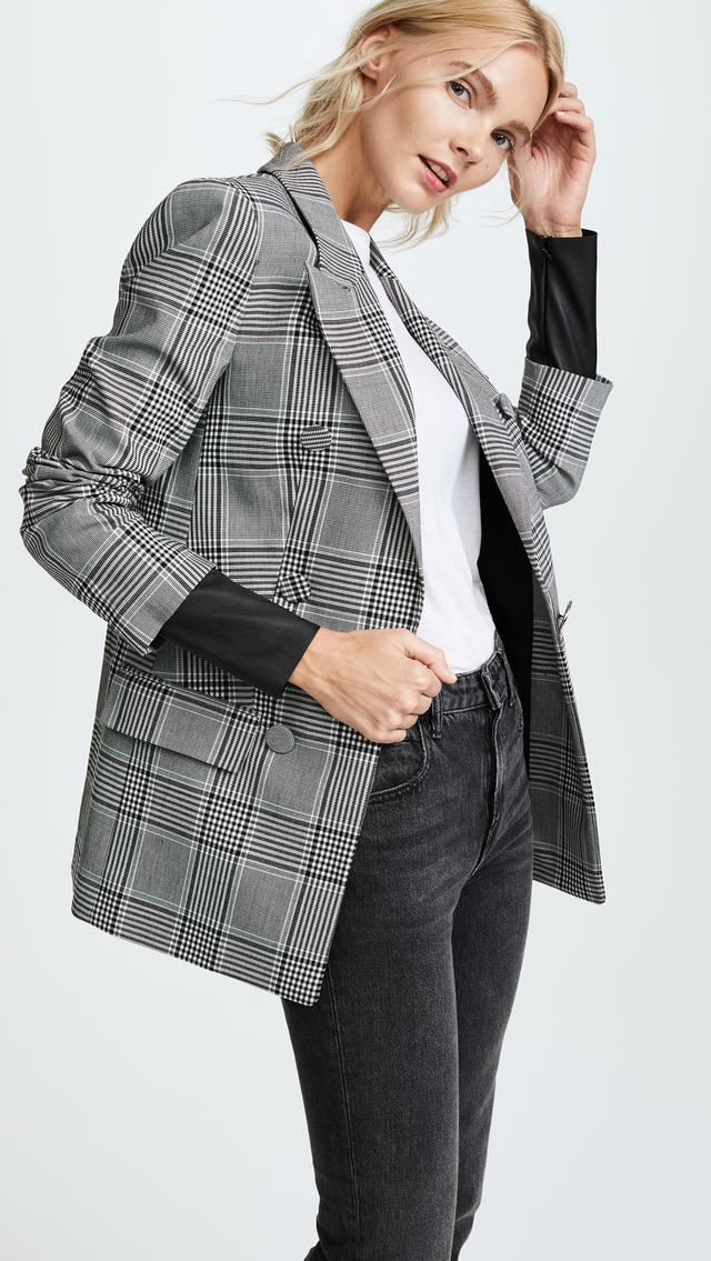 Alexander Wang Peaked Lapel Leather Sleeve Jacket