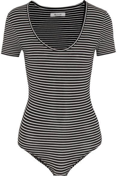 Lennon Striped Stretch Cotton-blend Jersey Bodysuit