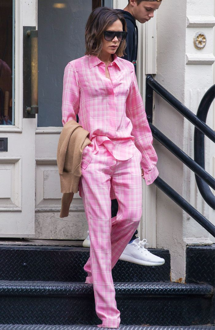 Victoria Beckham pink check suit